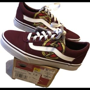 The Flash painted maroon Vans. M 5.5, W 7 new!